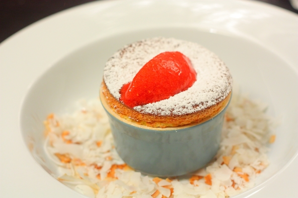 passion fruit souffle with strawberry sorbet